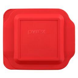 "8"" x 8"" Square Red Plastic Lid"