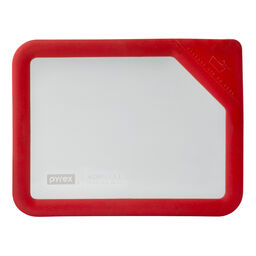 Ultimate 6 Cup Rectangle Glass Storage Lid, Red