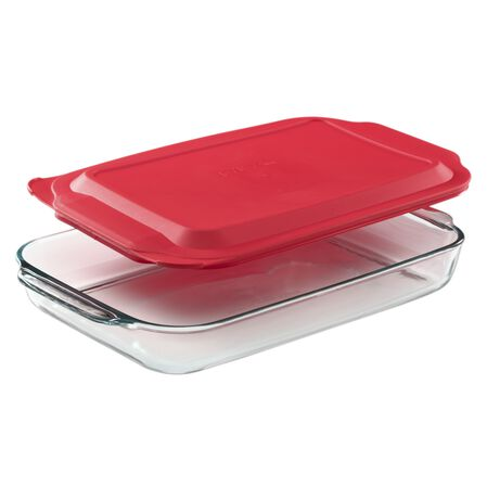 4.5-qt Oblong Baking Dish w/ Red Lid