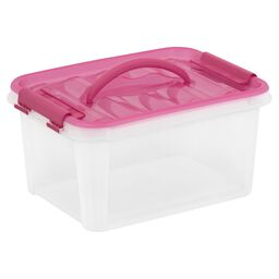 "Smart Store® 12"" x 6"" Home Storage Container w/ Pink Handles"