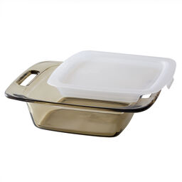"Easy Grab™ Amber 8"" Square Baking Dish w/ Lid"