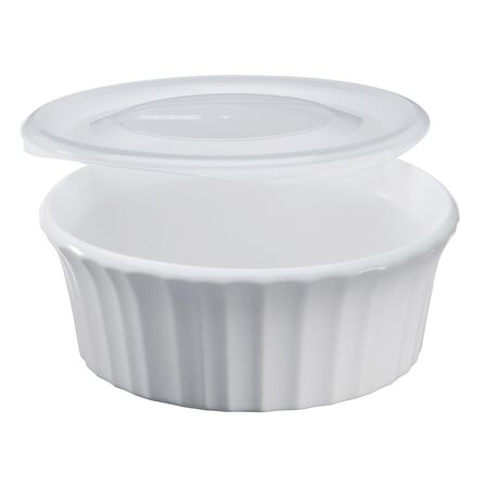 French White® 16-oz Round Baker w/ Plastic Lid