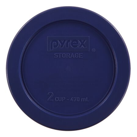 2 Cup Round Blue Plastic Lid