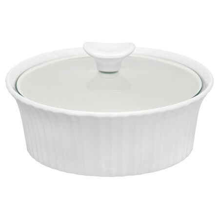 French White® 1.5-qt Round Casserole w/ Glass Lid