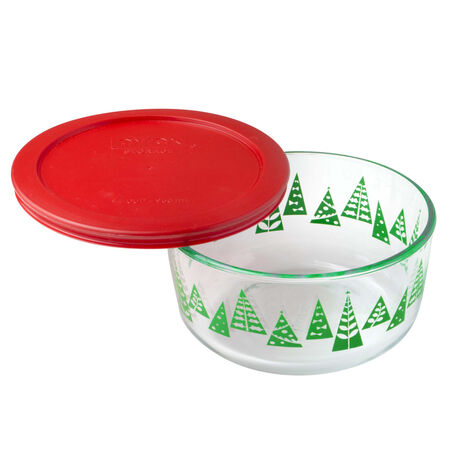 Simply Store® 4 Cup Green Christmas Tree Holiday Storage Dish w/ Red Lid