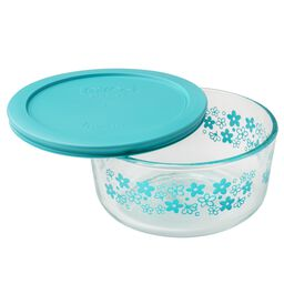Simply Store® 4 Cup Spring Blossom Storage Dish w/ Turquoise Lid
