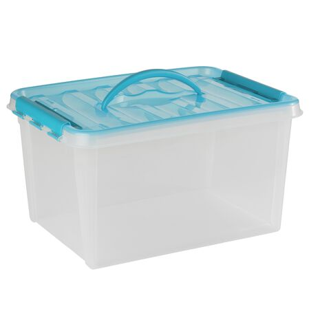 """Smart Store® 16"""" x 9"""" Home Storage Container Turquoise Handles"""