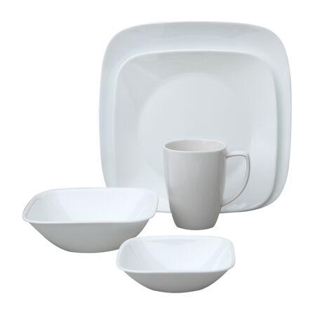 Square™ Pure White 16-pc Dinnerware Set w/ Bonus Bowls