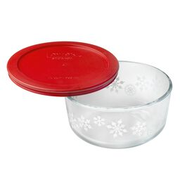 Simply Store® 4 Cup White Snowflake Holiday Storage Dish w/ Red Lid