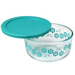 Simply Store® 4 Cup Turquoise Flowers Storage Dish w/ Lid