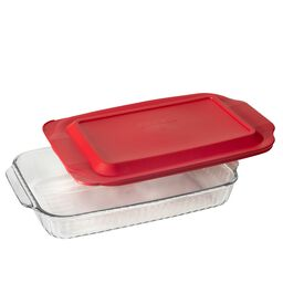 3-qt Sculpted Oblong Dish w/ Red Lid