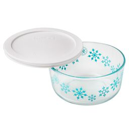 Simply Store® 4 Cup Blue Snowflake Holiday Storage Dish w/ White Lid