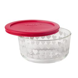 Simply Store® 4 Cup White Hearts Storage Dish w/ Red Lid