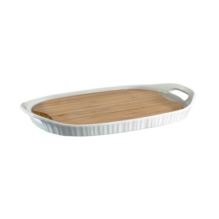 "French White® 9.5"" x 14"" Platter w/ Bamboo Insert"
