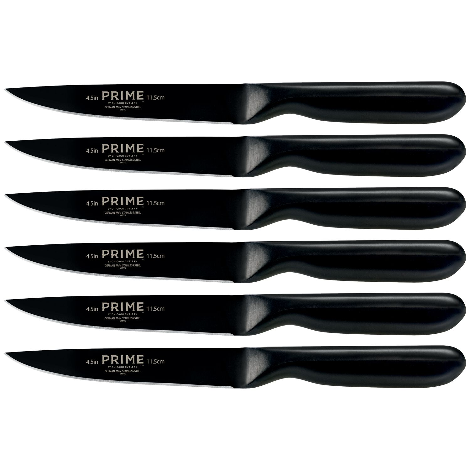 prime by chicago cutlery black oxide 6 pc steak knife set shop black oxide 6 pc steak knife set loading zoom