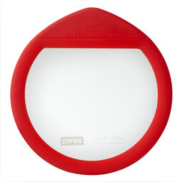 Ultimate 7 Cup Round Glass Storage Lid, Red