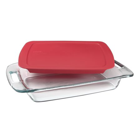 Easy Grab® 3-qt Oblong Baking Dish w/Red Lid