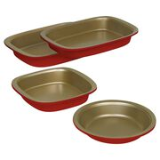 Bake & Serve Red and Gold 4-pc Set