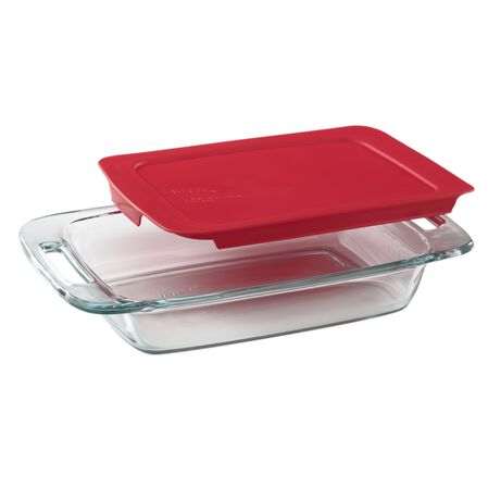 Easy Grab® 2-qt Oblong Baking Dish w/Red Lid