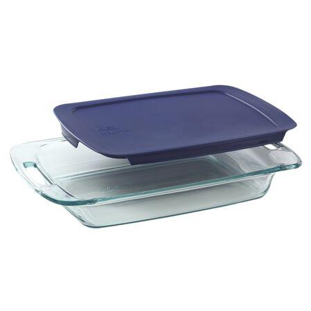 Easy Grab® 3-qt Oblong Baking Dish w/Blue Lid