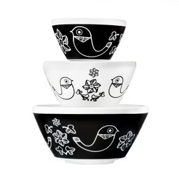 Vintage Charm Birds of a Feather 3-pc Mixing Bowl Set, inspired by Pyrex®