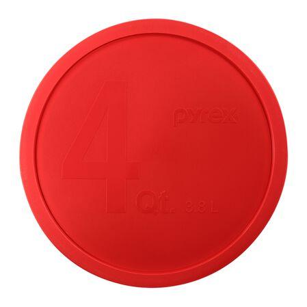 4-qt Round Mixing Bowl Plastic Lid, Red