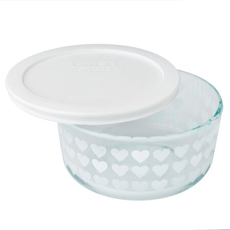 Simply Store® 4 Cup White Hearts Storage Dish w/ Lid