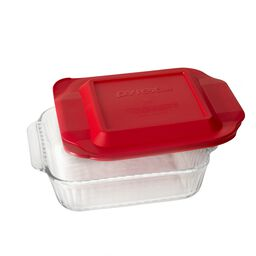 "Sculpted Baking Dish 8"" Square w/ Red Lid"