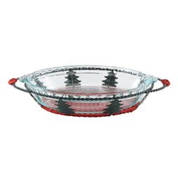 "9.5"" Pie Plate w/ Christmas Tree Basket"